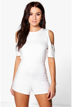 Kelly Cold Shoulder Ruffle Sleeve Playsuit
