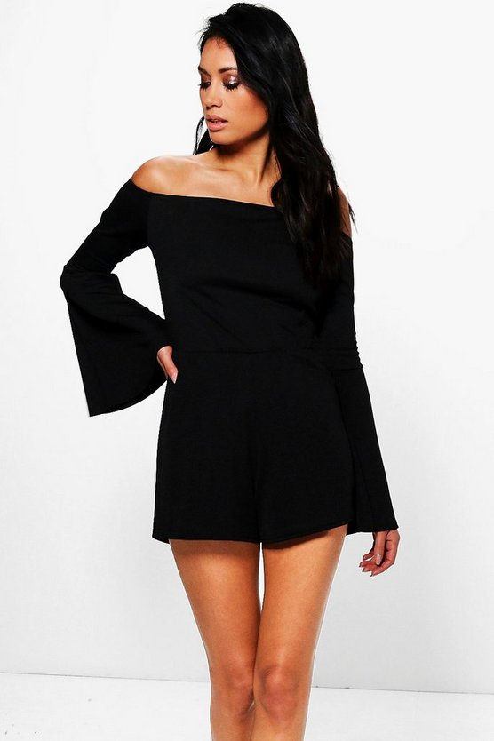 Ruth Off The Shoulder Flare Sleeve Playsuit