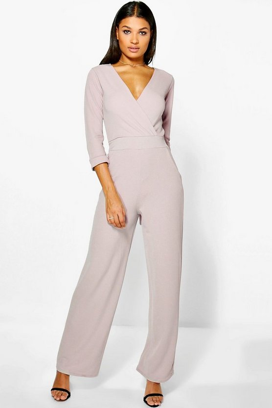 Roll Sleeve Relaxed Wide Leg Jumpsuit