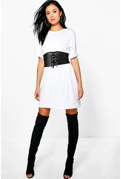 Faye 2 in 1 Corset Belt T-Shirt Dress