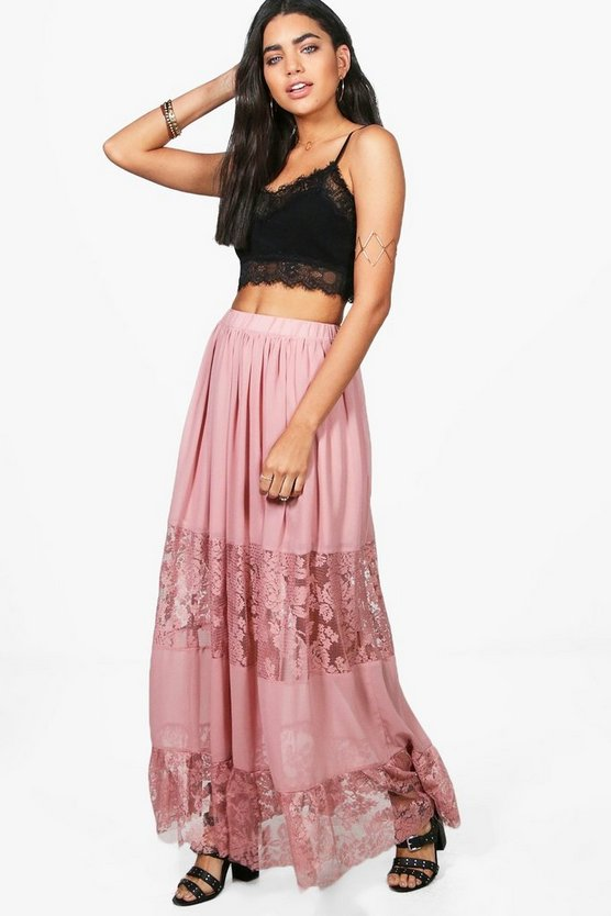 Lace Panelled Chiffon Maxi Skirt