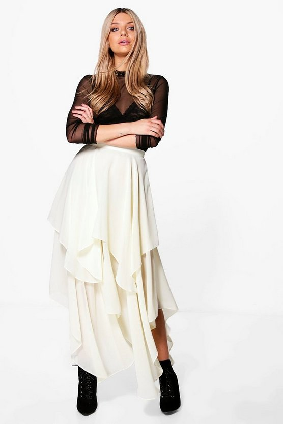Indie Ruffle Hem High Low Chiffon Maxi Skirt
