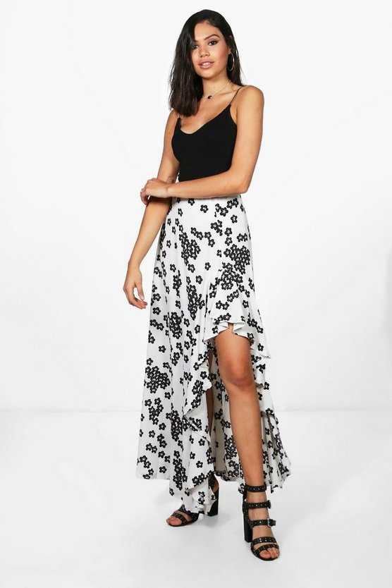 Naomi Floral Ruffle Side Maxi Skirt