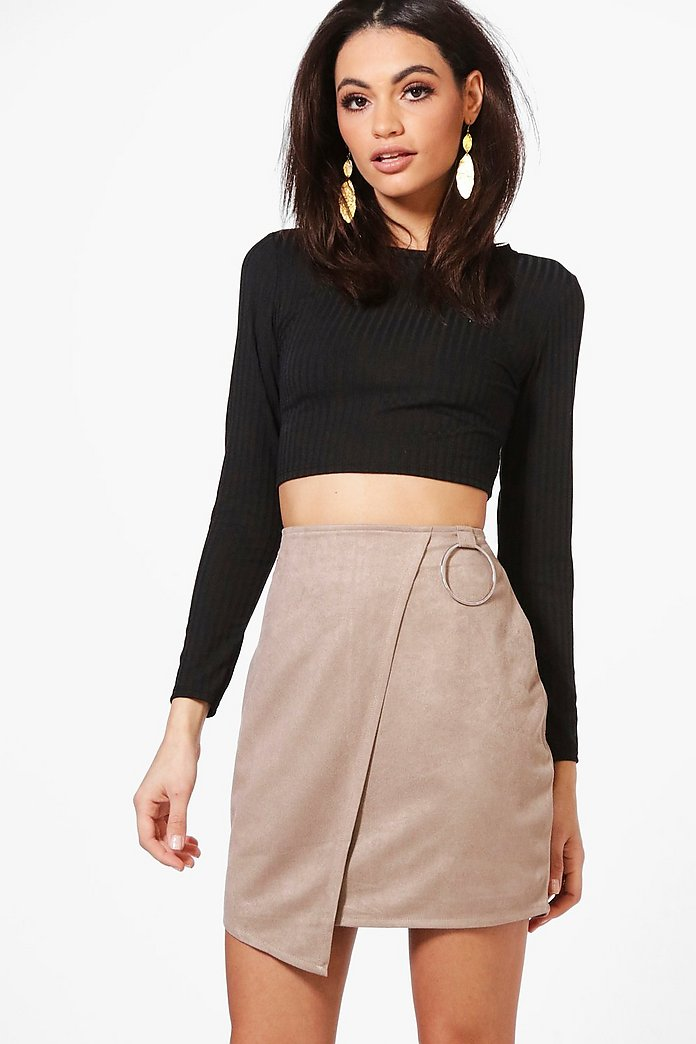 Katiah Ring Detail Suedette Asymetric Mini Skirt