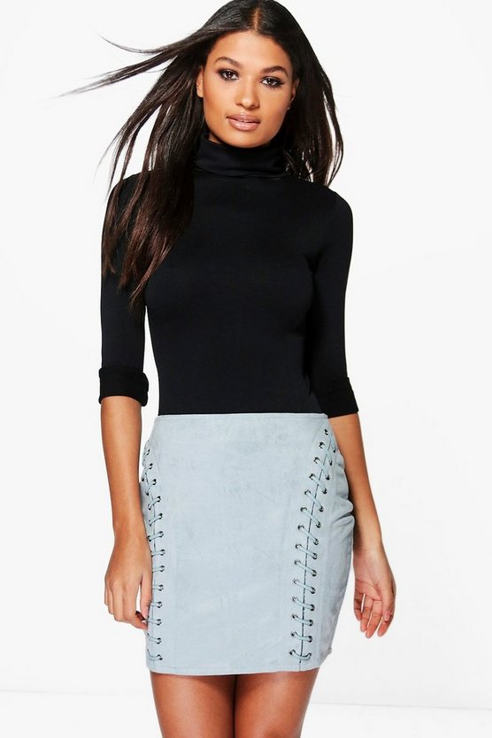 Rozie Eyelet Detail Suedette Mini Skirt