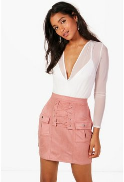 Harper Highwaist Lace Up Detail Suedette Mini Skirt