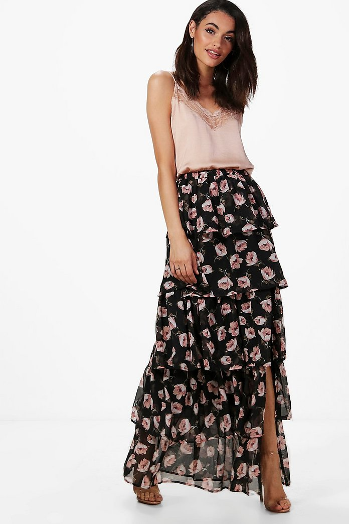 Everly Large Floral Ruffle Tiered Maxi Skirt
