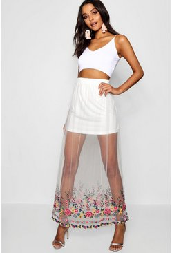Etta Embroidered Mesh Maxi Skirt