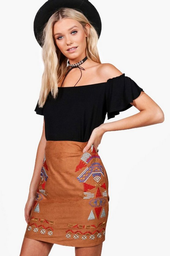 Leonora Embroidered Front Suedette Mini Skirt