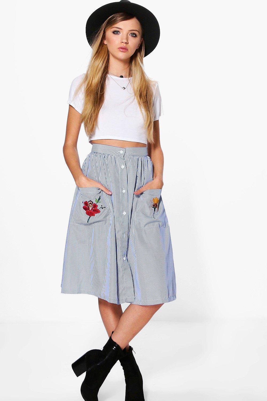 Xanthe Striped Embroidered Pocket Midi Skirt | Boohoo