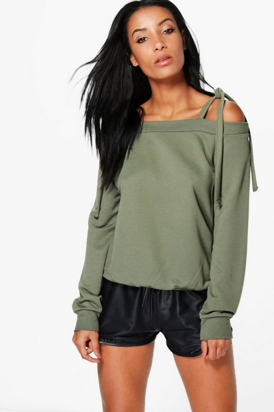 Hayley Tie Cold Shoulder Sweatshirt