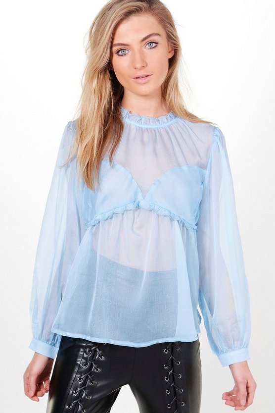 Mia Long Sleeve Gathered Bodice Blouse