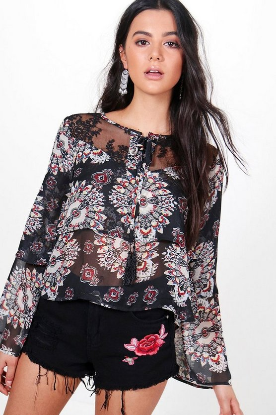 Amy Ruffle Sleeve Lace Printed Top