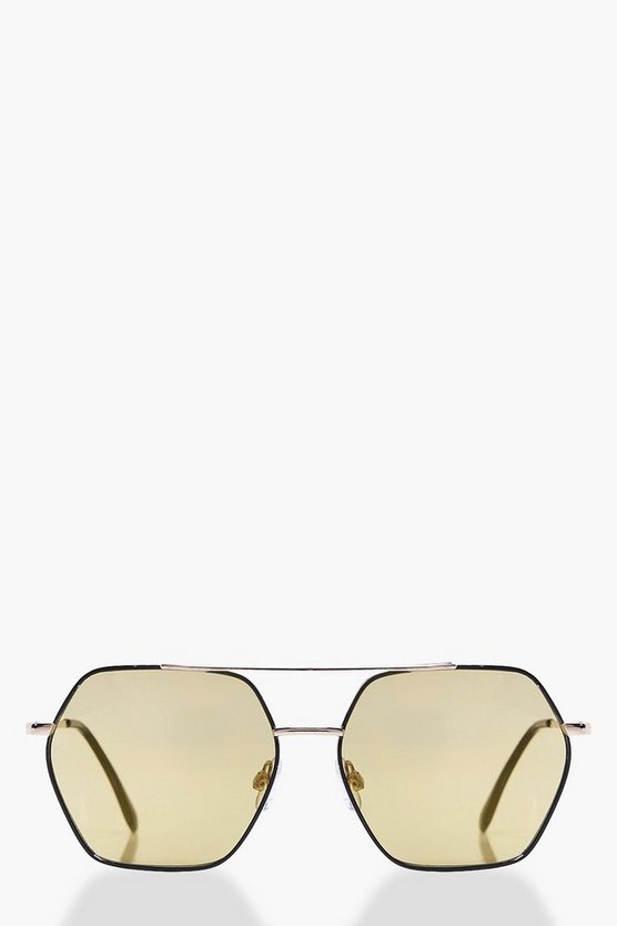 Hexagon Tinted Lense Aviator Sunglasses