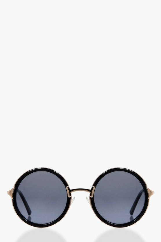 Smokey Black Contrast Round Sunglasses