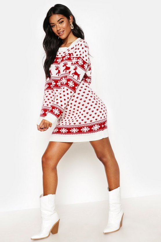 Lottie robe pull de no l rennes et flocons de neige boohoo - Dress code rennes ...
