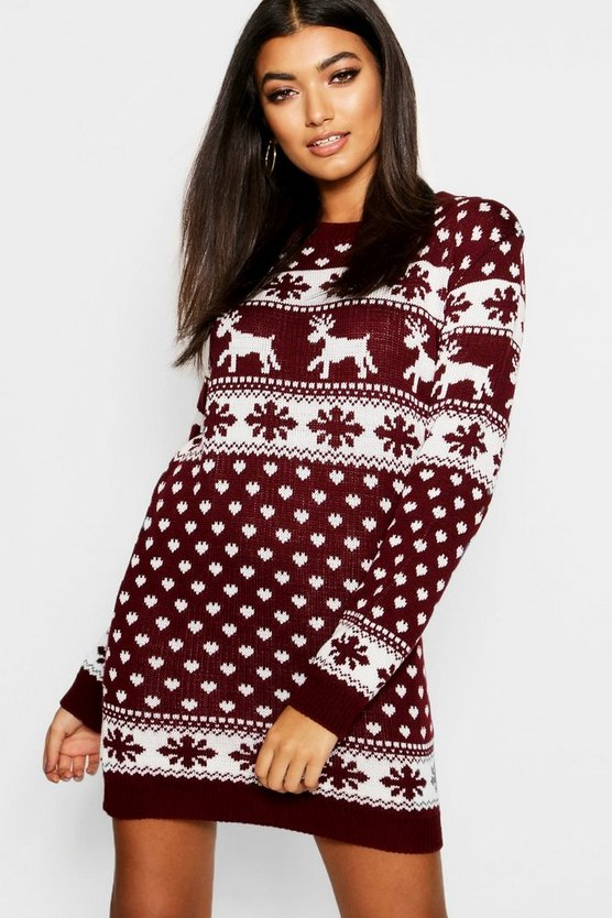 Lottie Reindeers & Snowflake Christmas Jumper Dress