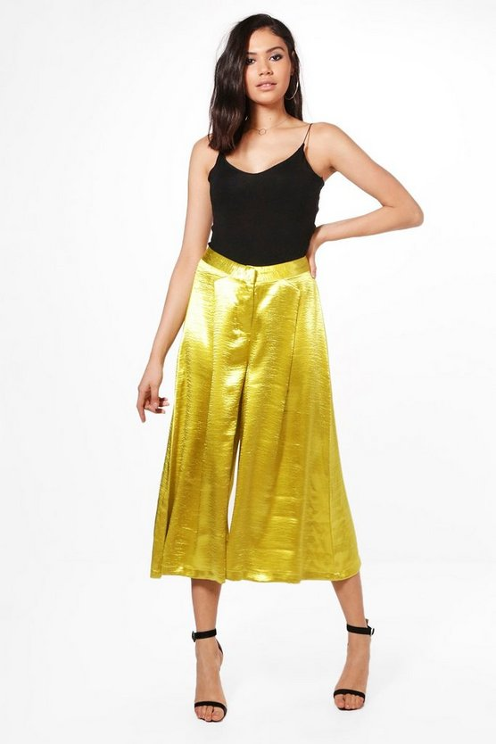 Flavia Satin Pleat Front Culottes