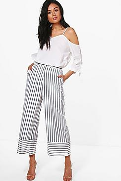 Eliora Hosenrock mit weitem Bein und Streifen in Kontrastfarben - Boohoo.com