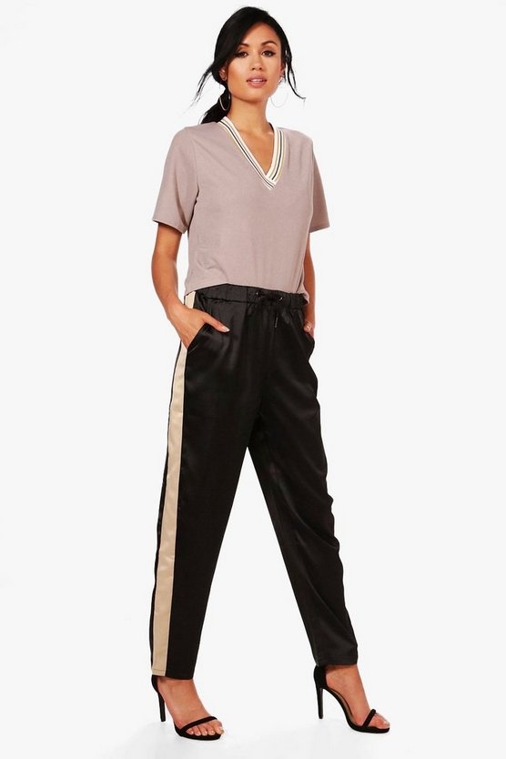 Paola Contrast Side Panel Slim Fit Trousers