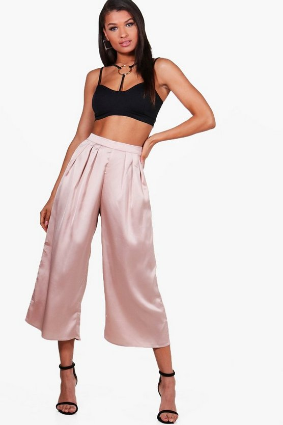 Arianna Pleat Front Satin Wide Leg Culottes