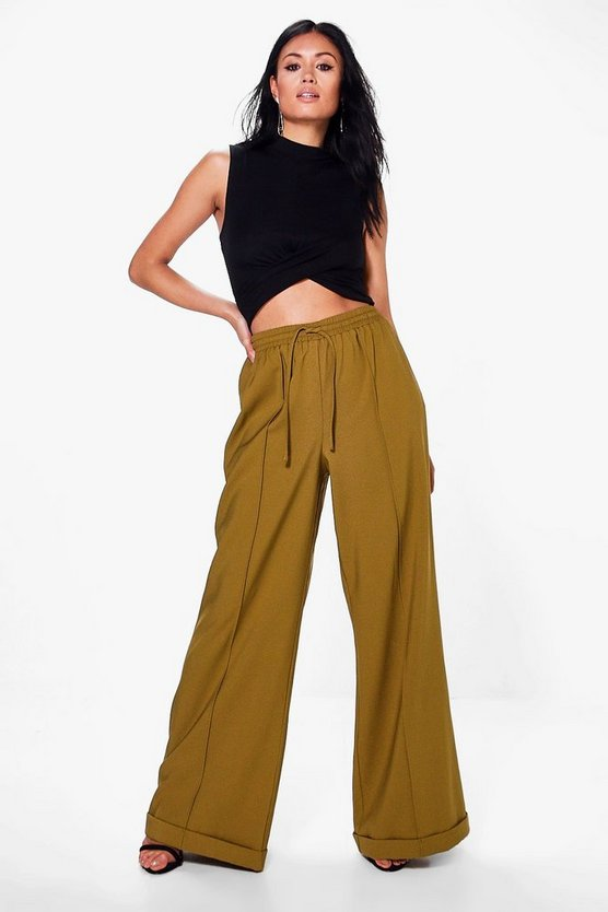 Aurelia Wide Leg Turn Up Tailored Trousers