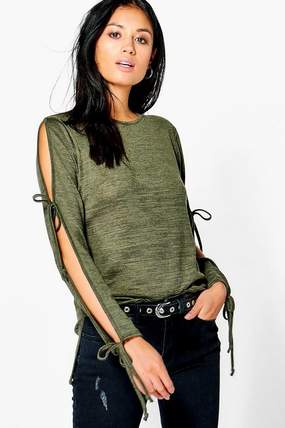 Lucy Cold Shoulder Lace Up Sleeve Jumper