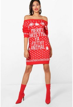 Lacey Slash Neck Filthy Animal Christmas Jumper Dress
