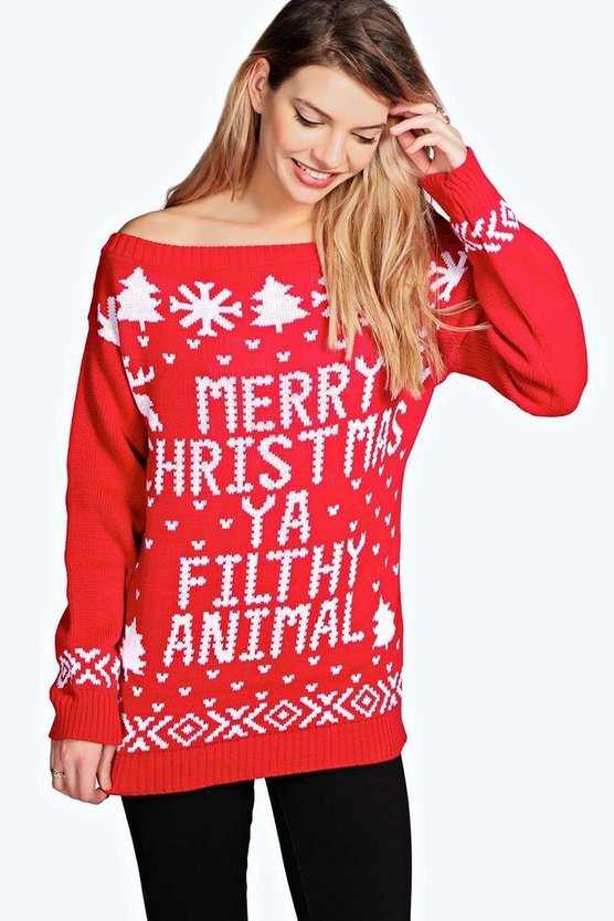 Slash Neck Filthy Animal Christmas Jumper
