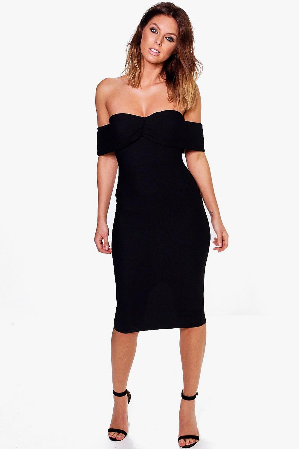 Sia Off Shoulder Gathered Fine Rib Midi Dress