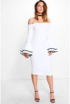 Fleur Off Shoulder Flared Sleeve Midi Dress