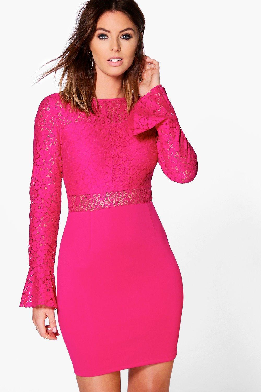 Ava Lace Frill Sleeve Bodycon Dress  fuchsia