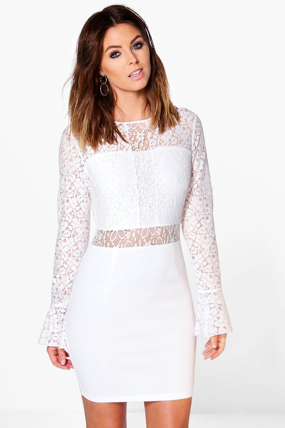 Ava Lace Frill Sleeve Bodycon Dress  ivory