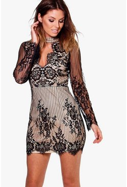 Boutique Ida Scallop Lace Choker Bodycon Dress