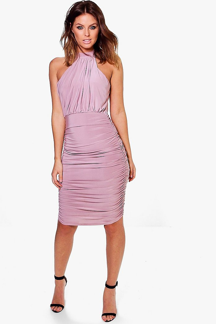 Maeve Slinky High Neck Ruched Bodycon Dress