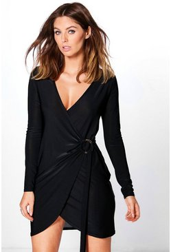 Emiko Slinky Wrap Ring Detail Dress