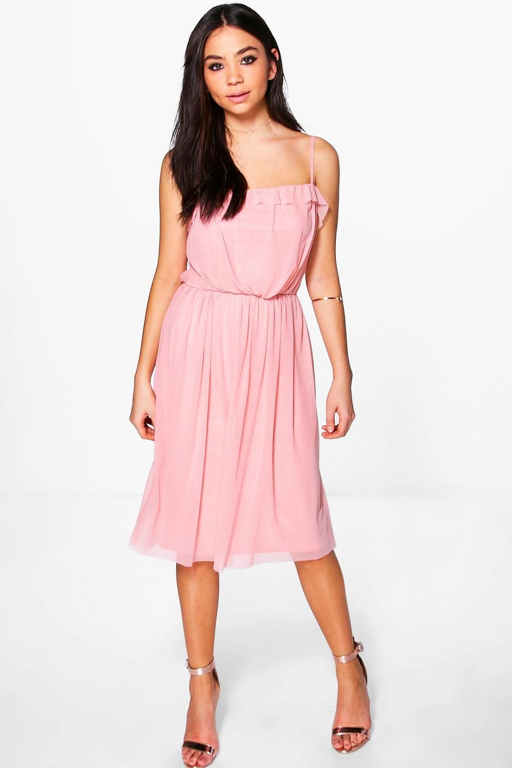 Teresa Frill Pleat Detail Midi Dress