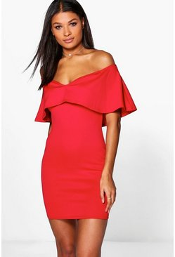 Kya Off Shoulder Sweetheart Frill Bodycon Dress
