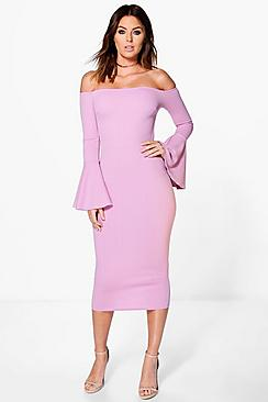 Lana Off Shoulder Flared Sleeved Midi Dress