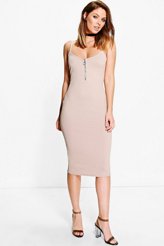Philly Rib Zip Detail Midi Dress