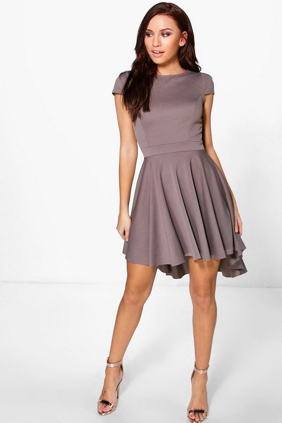 Maisie Cap Sleeve Dip Hem Skater Dress