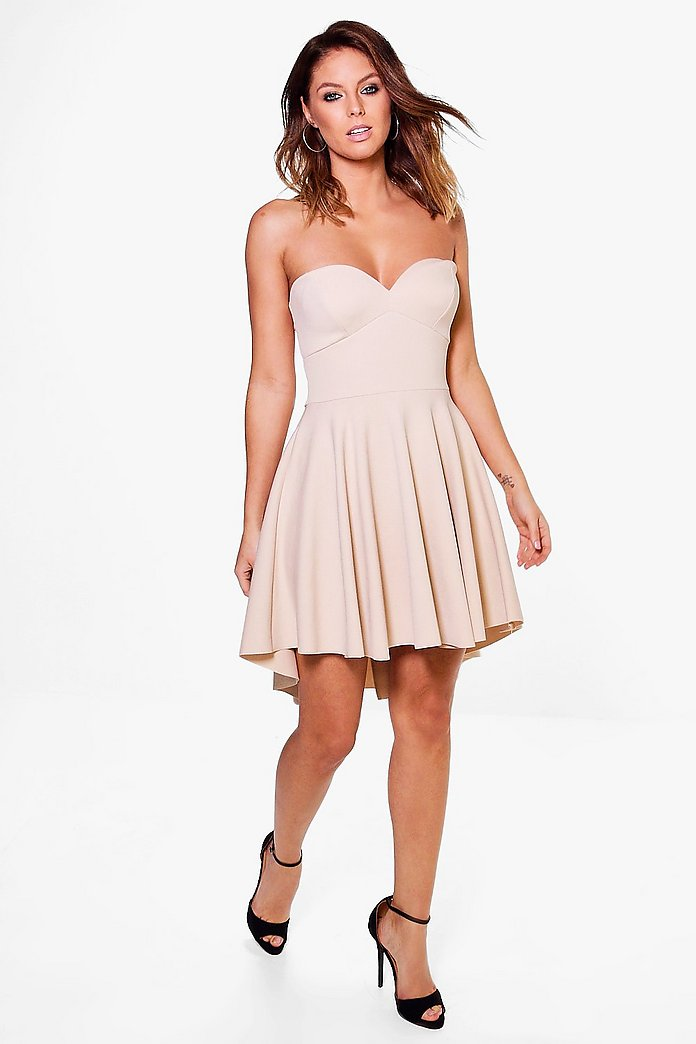 Cheska Bandeau Dip Hem Skater Dress