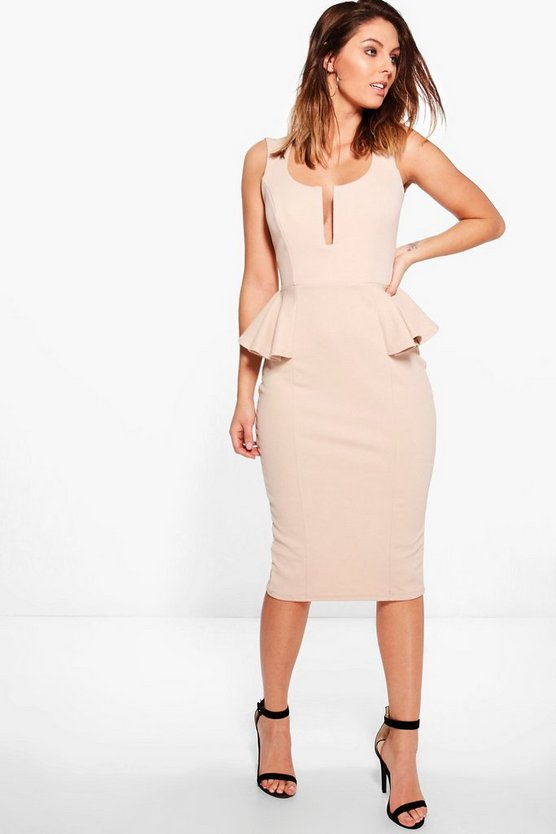 Daphne Strappy Peplum Midi Dress