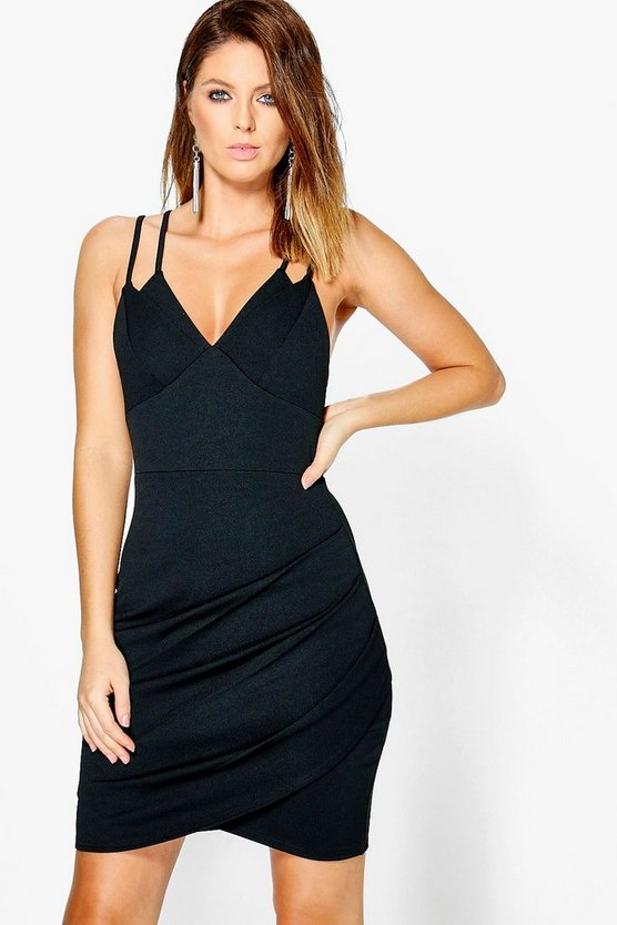 Pia Strappy Pleated Wrap Over Bodycon Dress