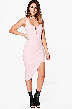 Ita Plunge Neck Asymmetric Wrap Midi Dress