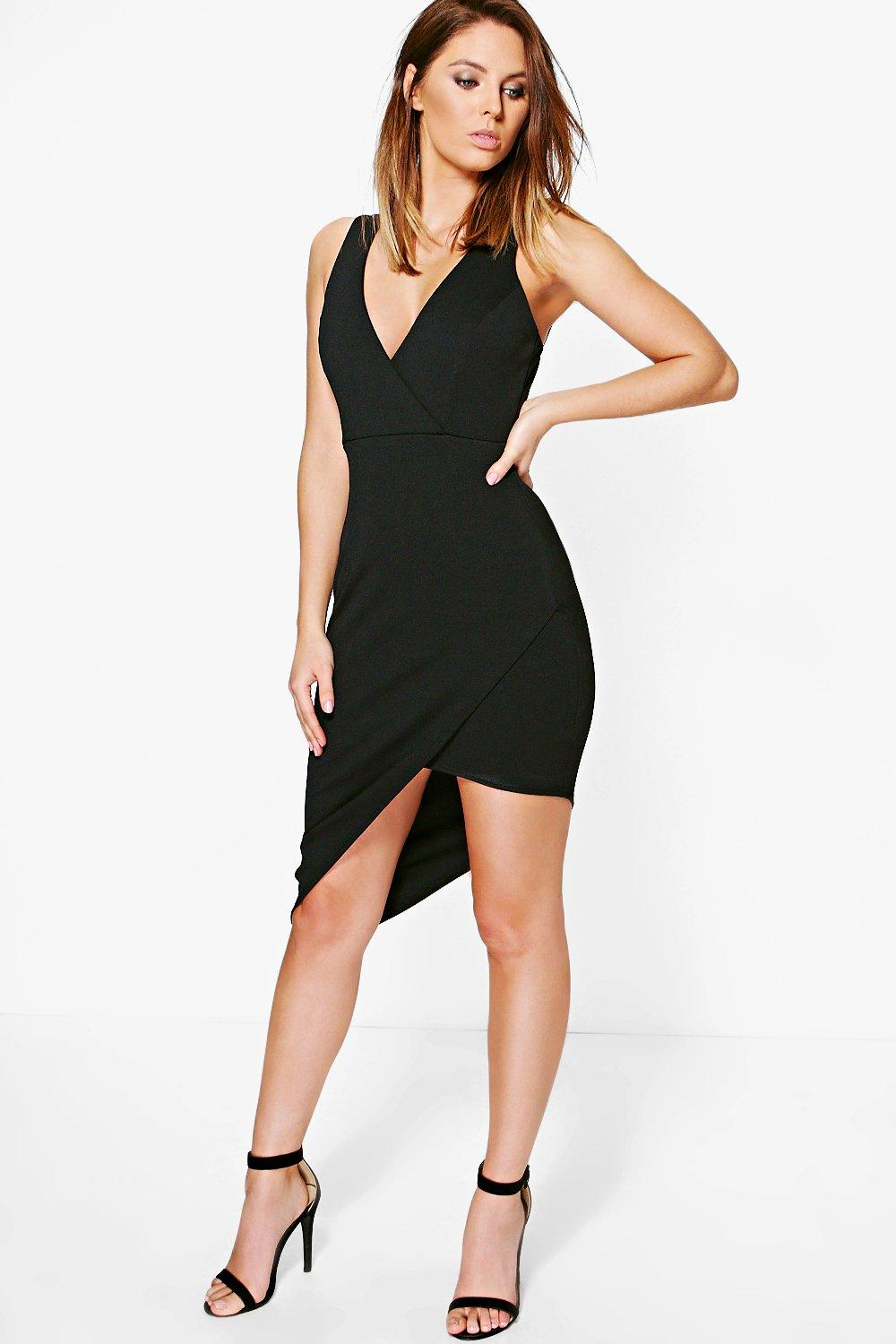 Crepe Wrap Asymmetric Bodycon Dress  black