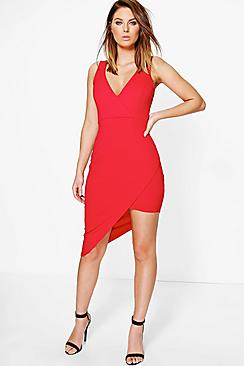 Jay Crepe Wrap Asymmetric Bodycon Dress