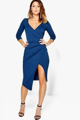 Cat 3/4 Sleeve Wrap Detail Crepe Midi Dress