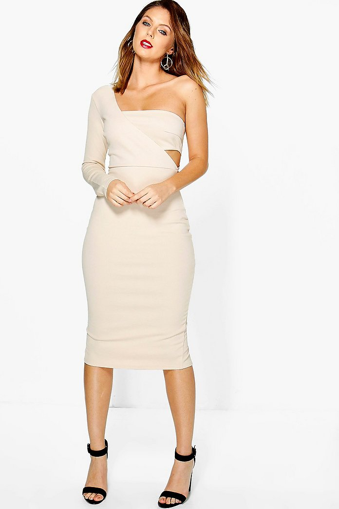 Lo One Shoulder Cut Out Midi Bodycon Dress