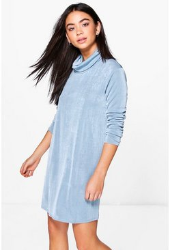 Ray Slinky High Cowl Neck Shift Dress